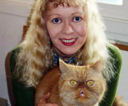 Pet and Dog Boarding: Lorna with her cat, Fweedie